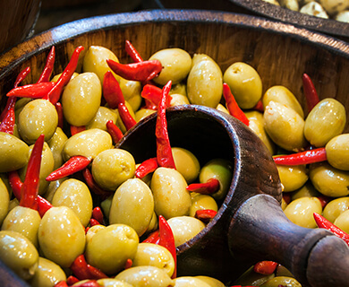 Olives and chillis